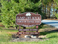 Jump Off Rock Welcome Sign
